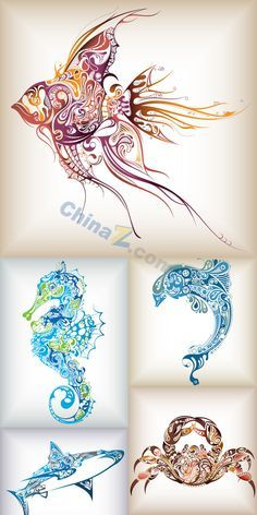 Creative patterns of marine animals vector material