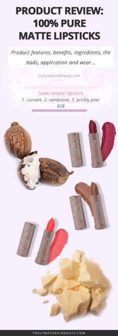 PRODUCT REVIEW: 100% Pure Cocoa Butter Matte Lipstick, All natural ingredients, organic natural beauty products, organic beauty line, natural lipstick, organic lipstick, healthy living, eco friendly beauty products, cruelty-free lipstick, healthy ingredients, green beauty blogger