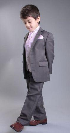 Grey and Pink Page Boy Suit | Grey Cravat Suit | Boys 4 piece suit | Roco Clothing