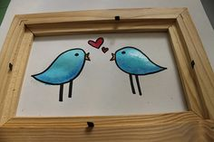 Great idea for you love birds out there!  Paint a masterpiece and frame it for pennies on the dollar with a frame found at Thrift Town!