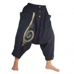 3/5 harén pantalones de algodón de patrón espiral negro