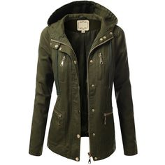 J.TOMSON Womens Trendy Military Cotton Drawstring Jacket ($37) via Polyvore