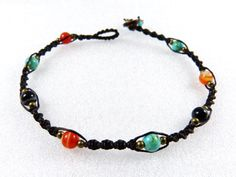 Anklet Thai Turquoise Fire Agate Micro Macrame Surfer Beads Boho Tribal Gypsy Beaded