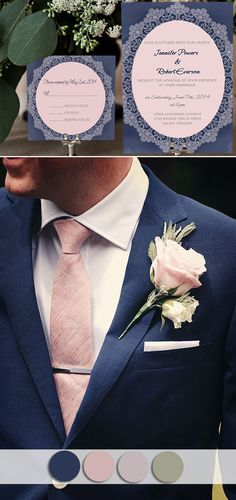 Top 10 October Wedding Colors and Wedding Invitations for Fall 2015 Navy blue suit with pink boutonn October Wedding Colors, Pink Wedding Colors, Blush Pink Weddings, Wedding Flowers, Blush Pink Wedding Dress, Costume Marie Bleu, Perfect Wedding, Dream Wedding, Wedding Blue