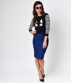 Black  White Stripe Three-Quarter Sleeve Kitty Knit Sweater $34.00 AT vintagedancer.com