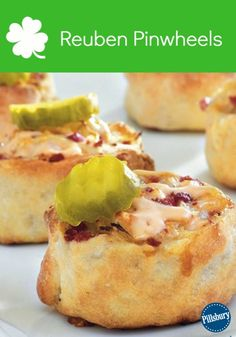 Reuben Pinwheels: This festive St. Patrick's Day meal is now bite-sized! Pillsbury refrigerated crusty French loaf layered with beef and sauerkraut gives you cheesy Reuben appetizers - ready in 35 minutes. Follow the easy recipe here!