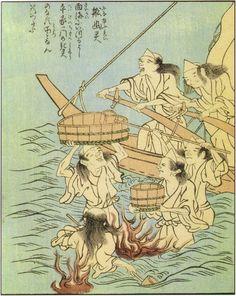 船幽霊(ふなゆうれい)『絵本百物語』第三巻 1841年(天保12年)Ghosts of those who died at sea 1841