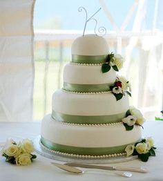 Ribbon wedding cake.