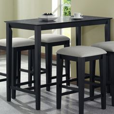 Monarch Specialties 1919 Rectangular Counter Height Dining Table In Black Grain