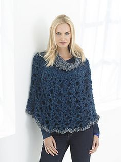 Poncho with Cowl by Lion Brand Yarn