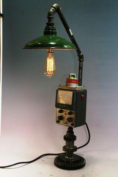 Steampunk Machine Age Lamp + Barn Shade