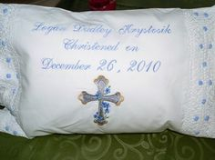 Scalloped Edge Baby Pillow for Christening or by sewmeamemory, $35.00