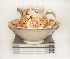 Beautiful Emma Bridgewater bowl and jug, designed for persephone books.