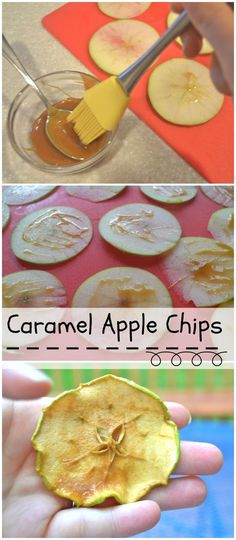 Caramel Green Apple Chips - make in the oven OR food dehydrator. Dessert Dips, Dessert Parfait, Canning Recipes, Snack Recipes, Jar Recipes, Freezer Recipes, Dishes Recipes, Freezer Cooking, Drink Recipes