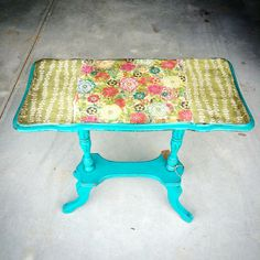 Refinished small side table with Rethunk Junk paint peacock feather and gunk to adhere scrapbook paper then dark glaze all over. #ourjunkyourtrunk #rethunkjunkpaint #breakthechalkhabit