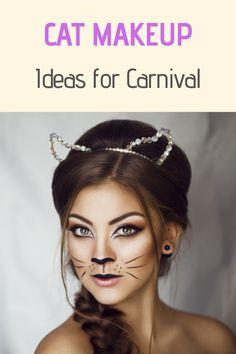 Cat Face Halloween, Halloween Makeup Looks, Halloween Make Up, Cat Face Makeup, Cat Makeup For Kids, Cat Costume Makeup, Simple Cat Makeup, Casual Makeup, Carnival Makeup