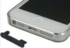x2 bouchon cache anti-poussière prise dock + jack iPhone 6, 5, 5s 5c noir