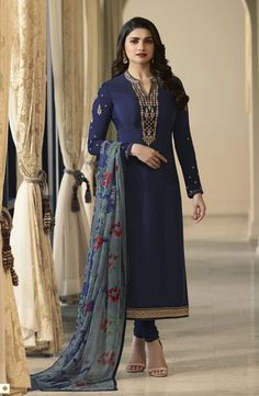 Bollywood diva prachi desai style blue designer straight cut suit online which is crafted from crepe fabric with exclusive embroidery and stone work. This latest embroidered straight cut suit comes with crepe bottom and chiffon dupatta. Churidar Suits, Patiala, Salwar Kameez, Anarkali Suits, Kurti, Bollywood Suits, Bollywood Fashion, Indian Suits Online, Straight Cut Dress