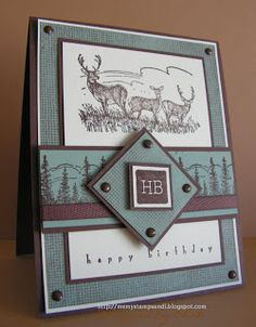 Stamps: Noble Deer, It's Your Birthday, Canvas BG stamp Paper: Chocolate Chip, Sage Shadow, Very Vanilla Ink: Chocolate Chip Accessories: Twill ribbon, brads Tools: dimensionals, 1/16 punch