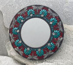 Teal and Red Dragonfly Mosaic Mirror, Round Mosaic Mirror, Home Decor Mirror Mosaic, Mosaic Art, Stone Mosaic, Mosaic Glass, Stained Glass, Beaded Flowers, Red Flowers, Pet Memorial Stones, Mosaic Designs