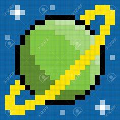 19122251-8-bit-pixel-pianeta-verde-con-anelli-e-stelle-Archivio-Fotografico.jpg…