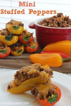 Mini Stuffed Peppers. Filled with flavor and oh my! Cheese! Oh so yummy! Quick and Easy!