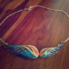 Rachel Roy Wings Necklace Gorgeous Blue/pink/orange/green winged necklace. Adjustable length. Rose gold with crystal inlay. Rachel Roy Jewelry Necklaces