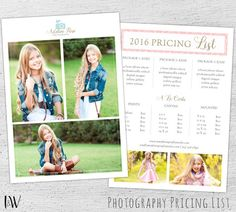Photography Pricing Template, Photoshop Template, Marketing, Price Sheet, Photography Price List, Photographer, Pricing Guide 01-009