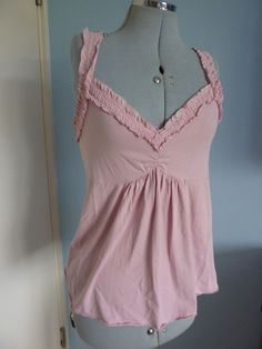 S12/14 MORGAN Plunge Pin Up Pink Slouch Strappy Cami Top #morgan