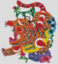 Cross stitch Tiger, Chinese Zodiac. Get in-depth info on the Chinese Zodiac Tiger personality & traits @ http://www.buildingbeautifulsouls.com/zodiac-signs/chinese-zodiac-signs-meanings/year-of-the-tiger/