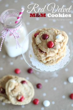 RED VELVET M&M COOKIES!!  Have you heard of Red Velvet M&M's??  These cookies are made with them and are SO yummy!!