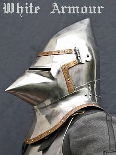 The great bascinet is majestic steel helmet of past centuries . The knights and noble lords use such helmets in the Hundred Years War. This helmets were widespread in Europe in late 14th – early 15th century . Such bascinet fully protects head , face and neck . The helmet rests on the