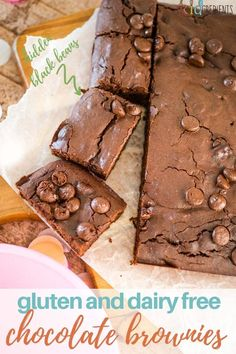 These gluten and dairy free chocolate brownies are fudgey, delicious and easy to make!  Perfect for afternoon tea or a yummy dessert. #kidgredients #kidsfood #baking #brownies #glutenfree #dairyfree #chocolate