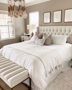 Beige Bedroom, Bedroom Makeover, White Master Bedroom, Bedding Master Bedroom, Bedroom Inspirations, Bed, White Tufted Bed, Neutral Bedrooms, Tufted Headboard Bedroom