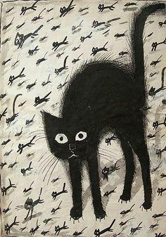 Cats in Art and Illustration: Józef Wilkoń aka Joseph John Wilkoń aka Jozefa Wilkonia (Polish, b. 1930, Bogucice, Poland) - Black Cat