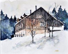 ORIGINAL Watercolor Landscape Painting 6x8 Inch, Winter Cottage, Winter Landscape