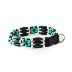 The Black Comanche Flower is one of our signature beaded dog collars inspired from Native American art. We use durable products that create a unique look for your four-legged best friend. This collar comes in a 3 strand width only which uses a 3/4 inch buckle. Handmade with love in Colorado!