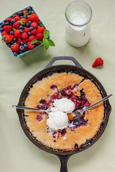 Skillet Berry Cobbler.  I eat my cobbler right out of the skillet (you can use a 9 x 13-inch baking dish if you don't have one). It saves dishes, but more important, it makes for a sweet summer date: two forks, a skillet of cobbler, some ice cream and a warm night on the patio.