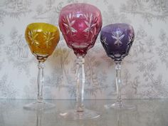 3 Purple Amber Cranberry Colored Bohemian Czech Crystal Cut to Clear Wine Glass