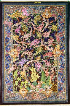 Tree of Life Silk Qom Silk Persian Rug | Exclusive collection of rugs and tableau rugs - Treasure Gallery