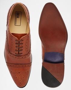 €52.94 - UK9.5 - Image 3 of ASOS Brogue Shoes in Tan Leather