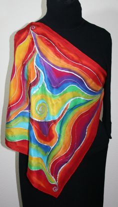 Red Hand Painted Silk Scarf Passion Winds. Silk Scarf in Yellow, Green, Purple.. Size 21x21. Made in Colorado. 100% silk. Made to order.. $36.00, via Etsy.
