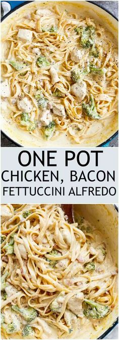Skinny ONE POT Chicken Bacon Fettuccine Alfredo with NO HEAVY CREAM, butter or flour! Only one pot to wash up, with the pasta being cooked right IN the pot! Pollo Alfredo, Chicken Bacon Alfredo, Butter Chicken, Recipes With Fettuccine Noodles, Chicken Broccoli Fettuccine Alfredo, Cream Chicken Pasta, Pasta Fettucine, Alfredo Noodles, Homemade Chicken Alfredo
