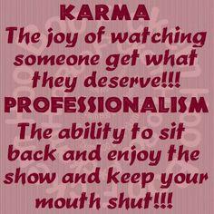 Karma vs. Professionalism