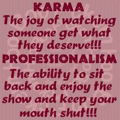 Karma vs. Professionalism