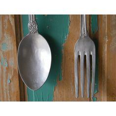 Amazing Wall Art Oversize Fork And Spoon Silver Painted Large Kitchen Restaurant  Decor Chef Cook Wall Hanging Unique Gift / Utensil Art