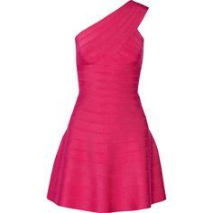 Hervé Léger Eva one-shoulder bandage mini dress (€560) ❤ liked on Polyvore featuring dresses, fuchsia, fuschia dress, fuschia cocktail dress, one shoulder dress, short dresses and bandage dress