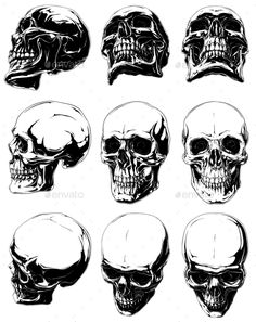 Buy Detailed Graphic Black and White Human Skulls Set by GB_Art on GraphicRiver. Vector set of 9 cool realistic detailed graphic black and white human skulls in different projections Evil Skull Tattoo, Skull Tattoo Design, Skull Tattoos, Sleeve Tattoos, Tattoo Designs, Tattoo Fairy, Skull Reference, Hand Reference, Pose Reference