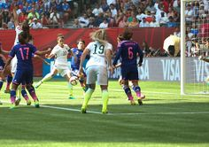 Carli Lloyd about to strike one of her three goals vs. Japan, July 5, 2015. (U.S. Soccer)