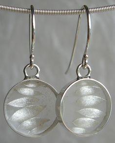 Carla Pennie Jewelry Design – Earrings – Silver Leaf Earrings - Hand fabricated sterling silver earrings encasing forged silver and resin.